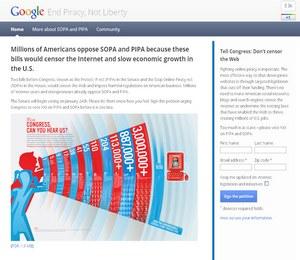SOPA и PIPA протест Google